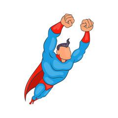 Flying superhero icon in cartoon style isolated on white background