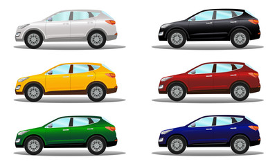 Set of crossover vehicles in six colors