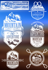 The set of symbols and logos for climbing and mountaineering. Co
