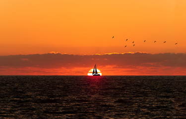 Wall Mural - Sunset Sailboat Silhouette