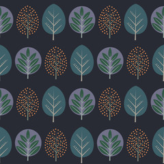 Leaves seamless pattern. Decorative nature background with trees. Scandinavian style autumn forest vector illustration. Design for textile, wallpaper, fabric.