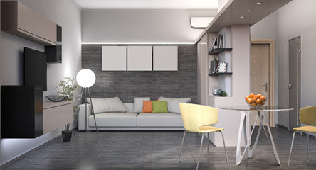 3D illustration of a small apartment