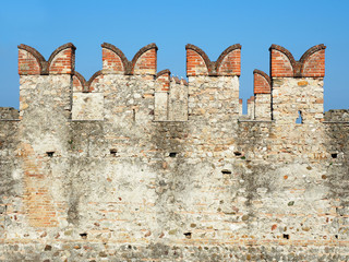 Walls Scaliger Castle Sirmione Italy