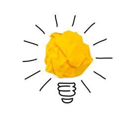 Inspiration crumpled yellow paper light bulb idea