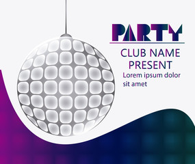 disco sphere shiny party tipography celebration night card advertising icon. Colorful design. Vector illustration