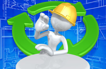 Construction Worker Character With Recycle Symbol Behind