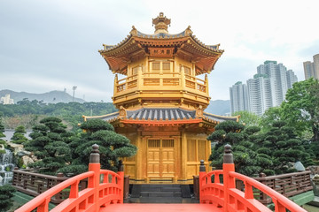 The Pavilion of Absolute Perfection or Golden pavilion is the famous tourist attraction at public park of Nan Lian garden in Hong Kong.