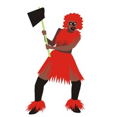Vector of a man from the tribe wearing red clothes holding a battle ax