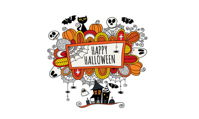 Happy Halloween Hand Drawn Doodle Vector White background