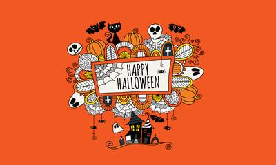 Happy Halloween Hand Drawn Doodle Vector Orange background