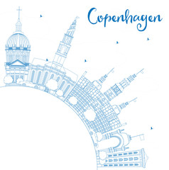 Outline Copenhagen Skyline with Blue Landmarks and Copy Space.