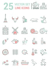 Set vector line icons in flat design with  Spain elements.