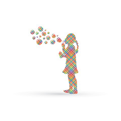 A little girl blowing soap bubbles designed using colorful pixels graphic vector.