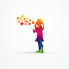A little girl blowing soap bubbles designed using melt colors graphic vector.
