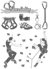 The set of attributes of equipment for climbing, silhouettes the