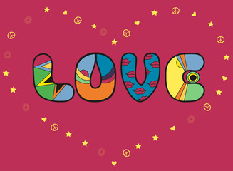 Love. Colorful artistic font. Romantic card