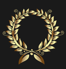 Gold laurel wreath medal logo template