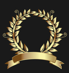 Gold laurel logo vector