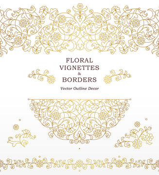 Vector set of vignettes, borders in Eastern style.