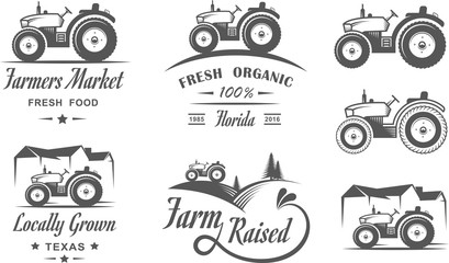 Set of logos with the tractor for the family farm. Fresh natural