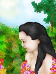 profile of the girl with flowers/illustration with scene of the girl with flowers in image summer