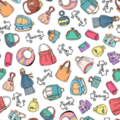 Vector seamless pattern with hand drawn colored handbags for women