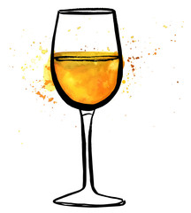 Vector and watercolor freehand drawing of glass of white wine