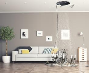 broken ceiling in the room
