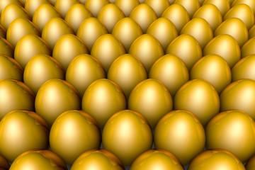 The huge profits. Golden eggs. 3D illustration render