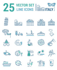 A set of graphical linear and flat icons with symbols of Italy.