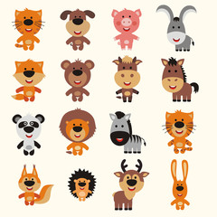 Vector collection isolated animals. Set cartoon animals. Cute animals: asia, africa, forest, farm, domestic