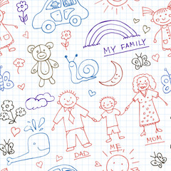 Kids Drawings doodle seamless pattern. Vintage illustration for identity