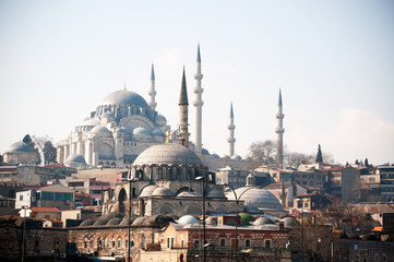 The old buildings and a mosque in Turkey