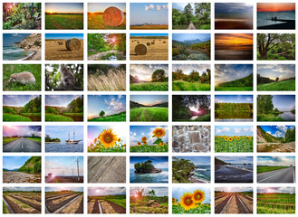 Collage of many nature photos on a white background