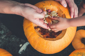close up of daughter and father hand who pulls seeds  fibrous material from  pumpkin before carving for Halloween. Prepares  jack-o-lantern. Decoration  party. Happy family. Little helper. Top view.