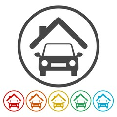 House icon with a car, 6 Colors