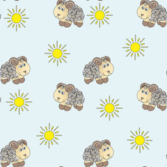 Background of the sheep and of the suns.