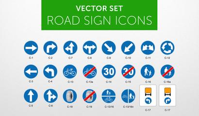 Fototapeta ROAD SIGNS | Znaki Drogowe Nakazu - vector icon PACK vol.1 obraz