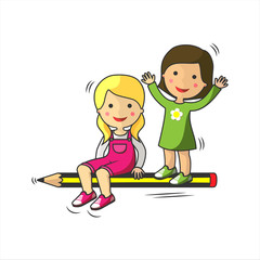 Children having fun flying in a pen