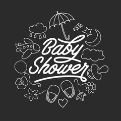 Baby shower invitation chalkboard template. Hand drawn vintage illustration.
