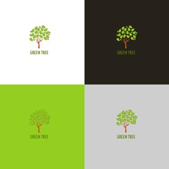 Forest logo or icon with tree in vector