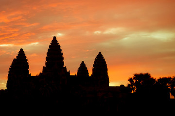 Blazing Sunrise over Angkor Wat in Siem Reap, Cambodia