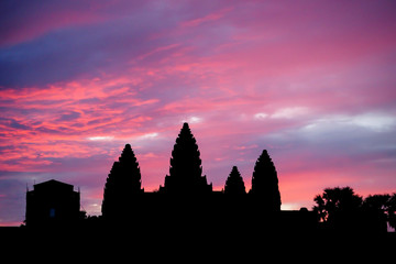 Purple Sunrise over the Sprawling Complex of Angkor Wat in Siem Reap, Cambodia
