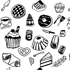 Bakery hand drawn icons pattern, vector illustration