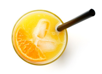 glass of fresh orange juice isolated on white, from above
