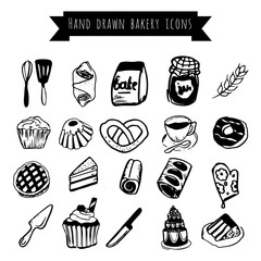 Bakery icons, hand drawn elements
