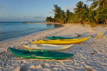 Kayaks on sandy tropical beach with coconut palm trees, atoll of Tikehau, Tuamotu archipelago, French Polynesia, south Pacific ocean