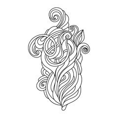 Hand Drawn Ornament with floral pattern. for coloring book for adult. Template for Greeting Card. Vector Monochrome background