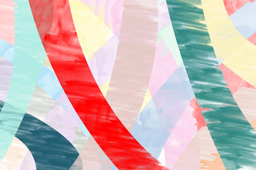 Abstract hand drawn colorful of red, pink, blue, yellow, brown, purple watercolor background, illustration, copy space for text