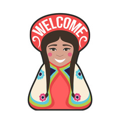 Vector illustration of young bolivian/peruvian woman with text - welcome